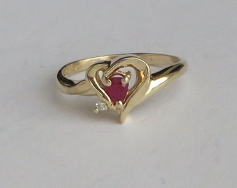Natural Ruby and Diamond Heart Ring in solid 10K Y Gold, size 5.75, free US first class shipping
