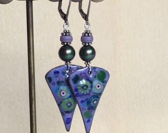 Purple and Green Flower Enamel Earrings