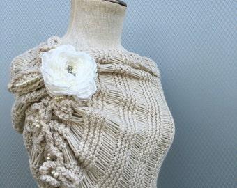 Off white shawl, wedding accessories, bridal accessories, wedding shawl, bridal shawl, bridesmaid gift, bolero, knitting shawl, shrug