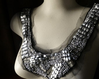 BLACK & Silver Beaded Lace Applique for Lyrical Dance, Costumes, Garments  CA 107bl
