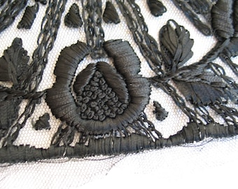 Antique Embroidered Tulle in Black NOS Stock with Label French Lace
