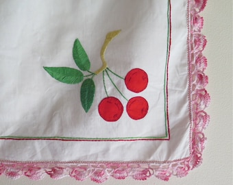 Vintage Cotton Tablecloth/Table Topper with Appliqued Embroidered Cherries and Crocheted Lace Trim
