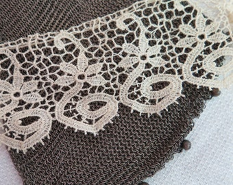 """Antique Chemical Lace Trim Schiffli Lace by the Yard 2"""" Wide Cotton Lace in Ivory"""