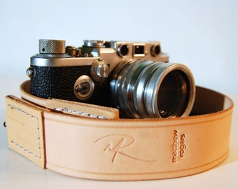 Camera Strap Standard Grooved Natural Leather Custom Monogram Engraving for Photographers Ideal for DSLR Canon Nikon and all Cameras