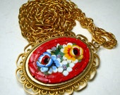 Vintage Italian MicroMosaic RED Pendant On Chain,  MilleFiore Floral Canes, 1970s, Oval Flower Bouquet