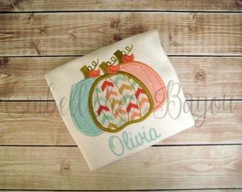 Fall Triple Pumpkin Personalized Appliqued Ruffle T-shirt for Girls