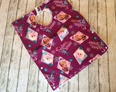 Toddler Pocket Bib   Snap at neck and Reversible   Frozen Sisters Purple Fabric