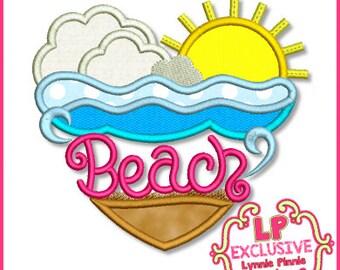 Beach Heart Applique 4x4 5x7 6x10 7x11 SVG Machine Embroidery Design