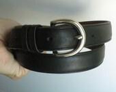 Coach Black Leather Belt Silver Toned Buckle Unisex - Size M