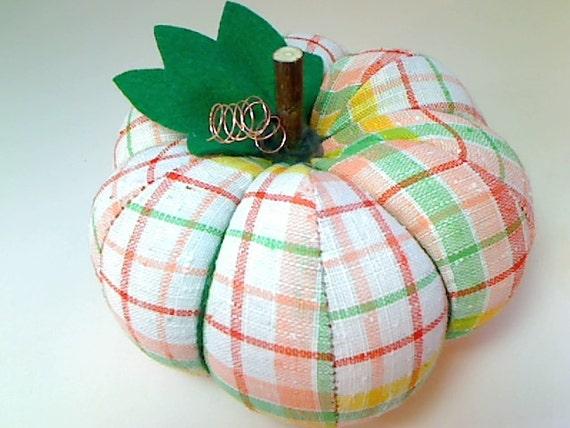 SALE PRICED Size 6 Retro Plaid Fabric Pumpkin