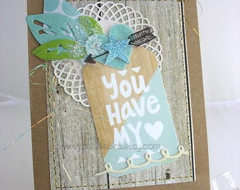 You Have My Heart Handmade Card~star~turquoise~anniversary card~unique card~baby card~aqua~kraft~white