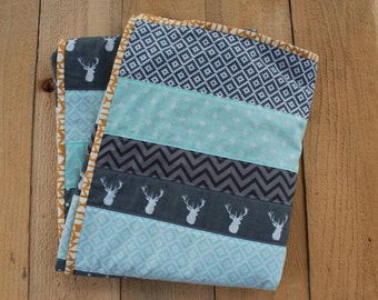 Minky Baby Blanket Quilt in Grey. Mint and Mustard. Baby Boy Quilt Gender Neutral Modern baby blanket. Buck Stag Deer Strip Quilt