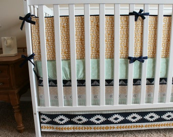 Custom Crib Bedding Set - Aztec - Modern Tribal Baby Bedding