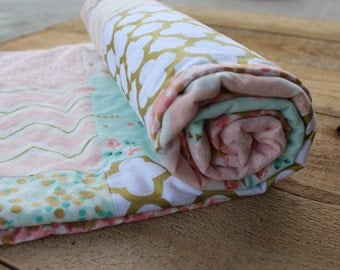 Patchwork Baby Blanket Quilt in Soft Pink, Mint and Gold. Baby Girl Quilt. Metallic gold dots, roses, lace and chevron. Modern baby blanket.