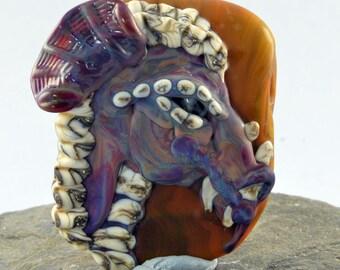 Purple Dragon Focal Bead Sculpture - Flameworked Glass Bead - Handmade Lampwork Glass Sculpture Bead