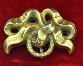 Early Victorian 14K Etched Bow Pin Brooch Watch fob