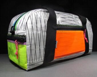 Sailcloth Duffle Bag: The Armadillo - White X and Neon - 22L - Travel Bag - Gym Bag - Overnight Bag