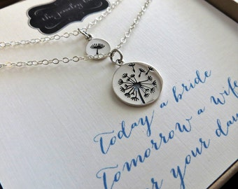 Dandelion mother daughter necklace, mother of the bride gift from bride,  sterling silver charm, mother and daughter jewelry sets