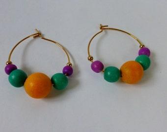 80s Hoop Earrings w Colorful Wood Beads yellow teal purple