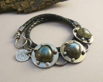 Denim Blue - Organic, Artisan, Labradorite Gemstone Leather Wrap Bracelet -Oxidized Sterling Silver, charm, original, modern, edgy, fiery