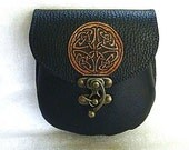 ONE ONLY Celtic pattern Black leather belt pouch  SCA medieval kilt sporran