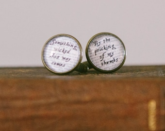 Librarian Gift - Macbeth Cuff Links - Something Wicked This Way Comes - Shakespeare Quote Cufflinks - Bookish Gift - Christmas Gifts For Him