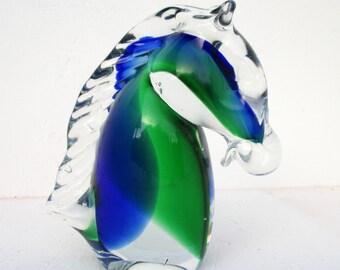Vintage Murano Horse Head Bust Figurine Blown Art Glass Blue Green Swirl Paperweight Sculpture