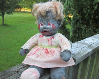 Zombie Doll--Altered Plush Doll Zombified--Undead Doll--OOAK