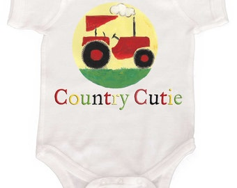 Boy Country Bodysuit Funny Baby Boy One Piece Tractor Romper Boy Creeper