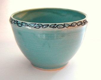 Turquoise Pottery Bowl - Floral Decoration - Petal Design - Serving Dish - Entertaining - Wedding Gift