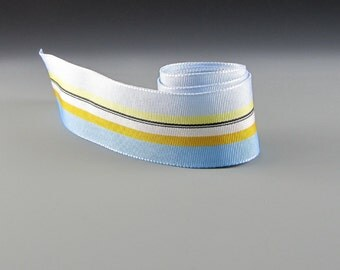 """1"""" and 1.5"""" BLUE YELLOW STRIPED Grosgrain Ribbon  20 Yard Roll Wholesale"""