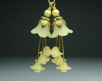 Vintage Style Bead Earring Dangles Hand Dyed Matte Yellow Lucite Flowers Pair