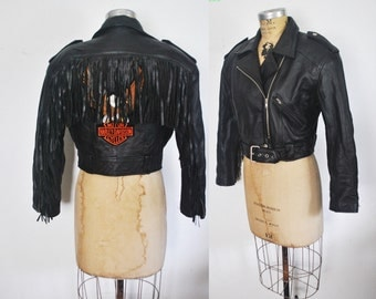Fringe Motorcycle Leather Jacket / BIKER Harley Davidson / Small