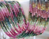 """Pink Green Amber Gem Watermelon Tourmaline 4-4.1mm faceted Rondelle Beads 14 1/2"""" strand 50ct weight"""
