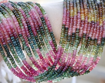 "Pink Green Amber Gem Watermelon Tourmaline 4-4.1mm faceted Rondelle Beads 14 1/2"" strand 50ct weight"