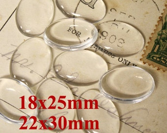 Oval Clear Glass Cabochon Flat Back Domes 18x25mm, 22x30mm -10pcs