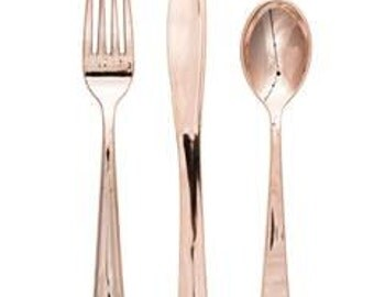 Rose gold metallic plastic cutlery.  Choose all forks or knives, spoons, and forks!  96 pieces total!