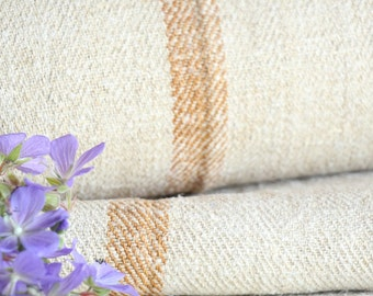 R 201 antique hemp french FADED  CARAMELL lin upholstery 11.47yards handloomed STAIRUNNER benchcushion Beachhouse look