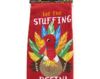 Ready To Ship  - Thanksgiving Hanging Kitchen Towel - Red Turkey Kitchen Towel - LetThe Stuffing Begin Button Top Kitchen Towel