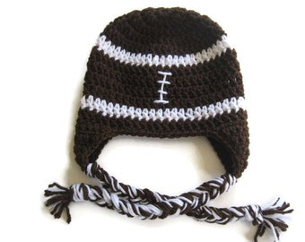 Ready To Ship - Crochet Football Baby Earflap Hat - Size  6 to 12 Months - Brown Football Crocheted Hat - Football Earflap  Hat