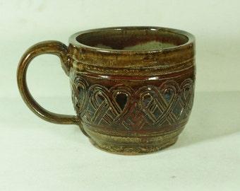 Red Brown Celtic Soup Mug Handmade Pottery