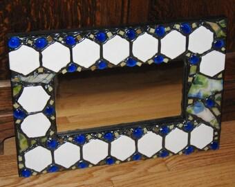 SALE - Blue Green and White Hexagon Mosaic Mirror