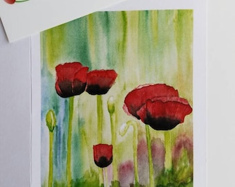 Red Poppies Flowers Watercolor Note Cards: Set of 8 Greeting Cards Thank You Blank Inside Cards All Occasion Cards