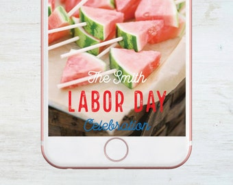 Custom Snapchat Geofilter, Labor Day, Barbeque, Social Media Snap Filter