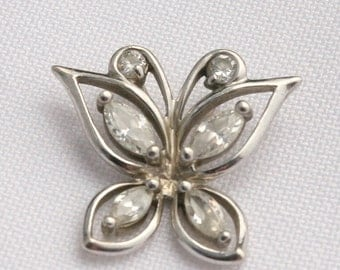 Vintage Sterling Silver Signed DL Butterfly Pendant Cubic Zirconia stones