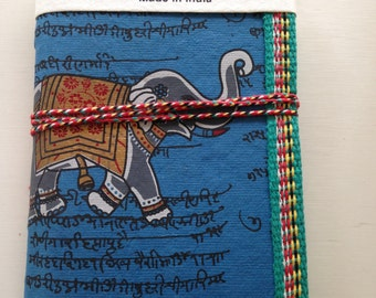 Indian Elephant Journal, Art Journal, A6 Notebook, Junk Journal, Mens Journal, Guy Gift,Navy Blue, Handmade Diary, Blank Notebook, 45 Pages,
