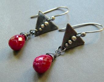 Genuine Ruby and Sterling Earrings, Ruby Dangle Oxidized Sterling Silver Earrings, Artisan Hand Made Drop Earrings