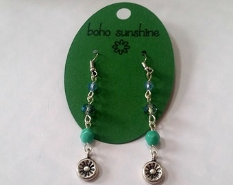 Boho Sunshine Sunshine Charm Earrings Hypo-Allergenic Ear Hooks with Glass Sparkle Faceted Beads