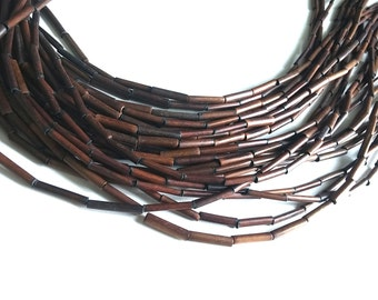 "Bamboo Wood Tube Beads - Eco Friendly Brown Tube Beads 15mm - 16"" strand  (PC225A)"