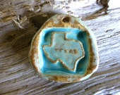 Rustic Blue Turquoise Texas State Western Cowgirl Pendant Ceramic Clay Pottery